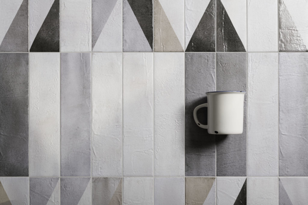 Oblique Latte Mix Decor with Ice, Light Grey, Medium Grey & Dark Grey Base Porcelain Tiles