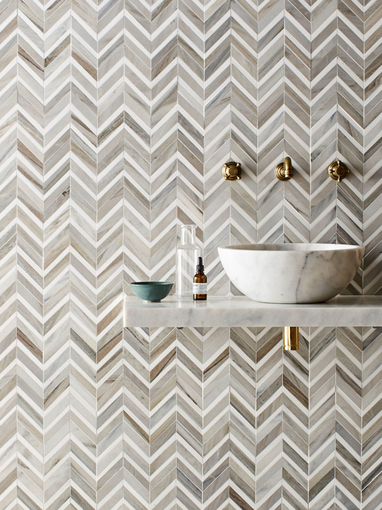 Pyrenees Honed Polished Chevron Mosaic Tiles & Calacatta Honed Pluto Basin