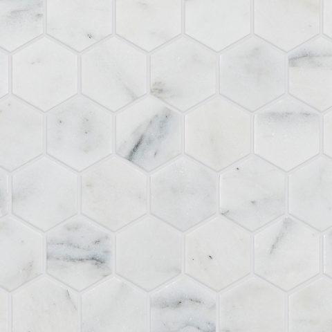 Calacatta Vein Honed Marble Hexagon Mosaic