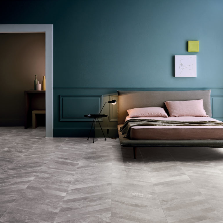Fusion Grey Matt Porcelain Tile Chevron Swatch