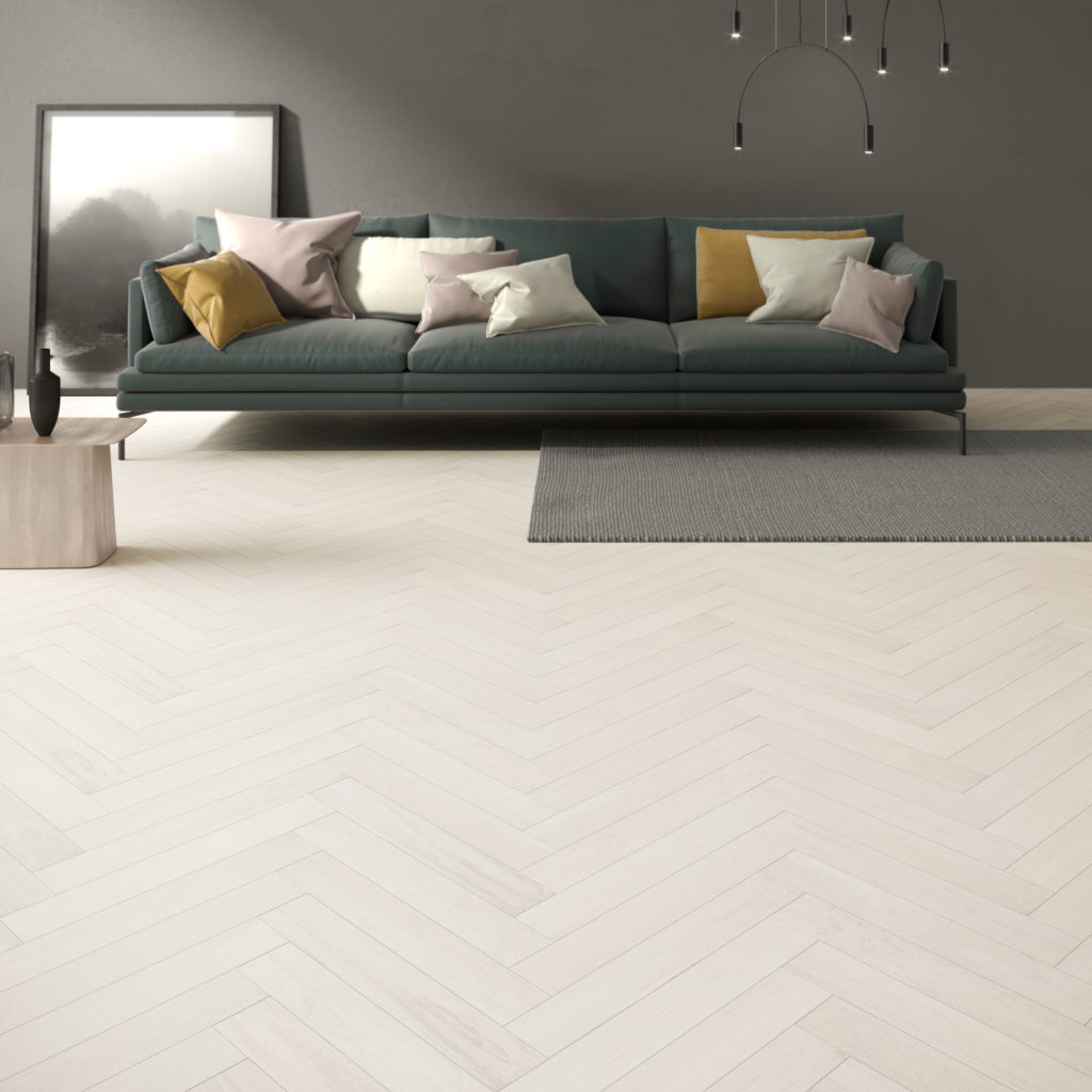 Metropole White Wood Effect Porcelain Tile Swatch