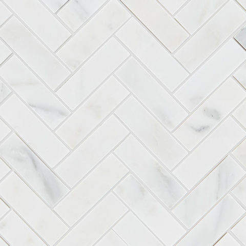 Alsace Honed Marble Herringbone Mosaic