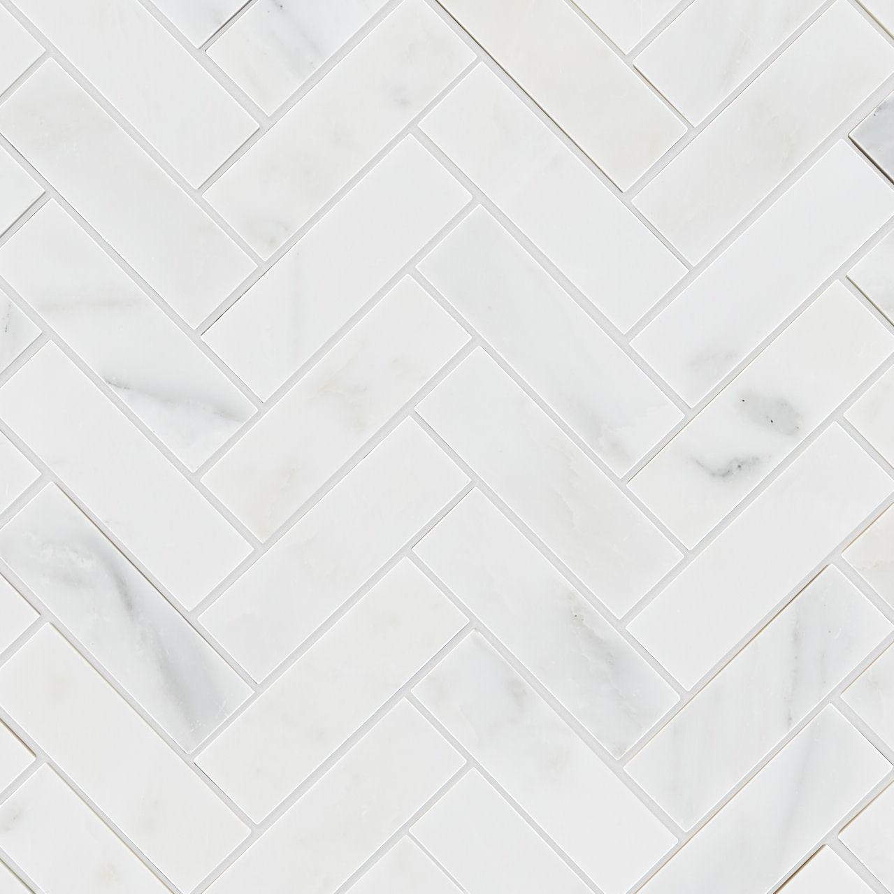 Alsace Honed Marble Herringbone Mosaic