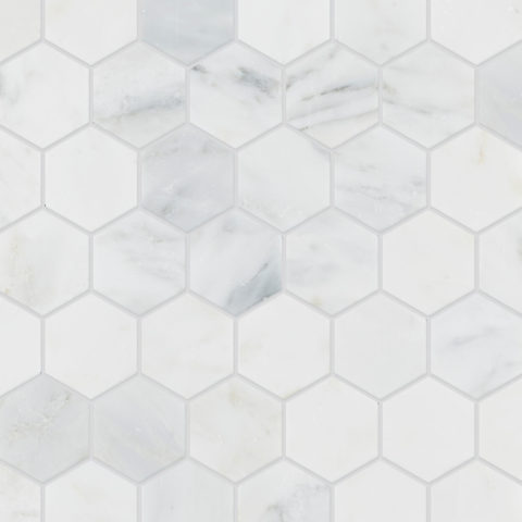Alsace Honed Marble Hexagon Mosaic