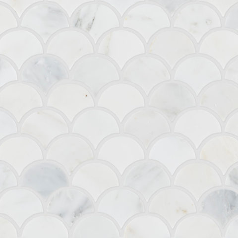 Alsace Honed Marble Scallop Mosaic