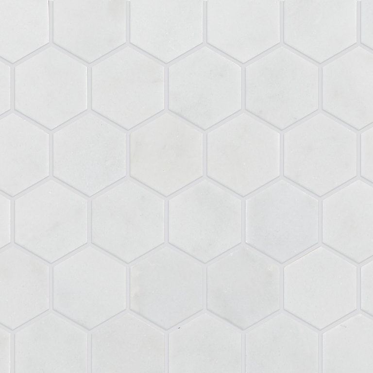 Calacatta Hexagon Marble Tile Swatch