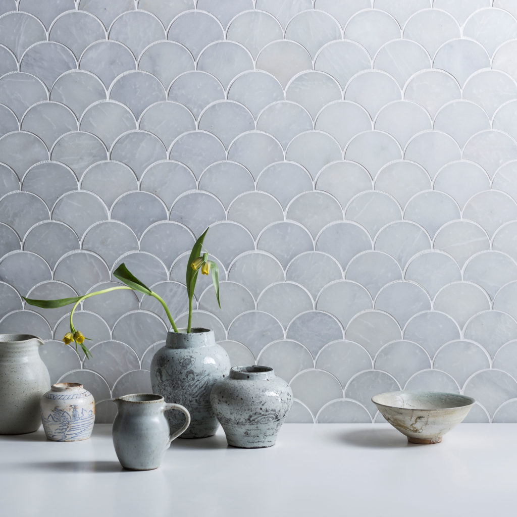 Calacatta Honed Marble Scallop Mosaic Tiles | Mandarin Stone