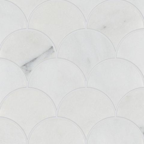 Calacatta Vein Honed Marble Scallop Mosaic