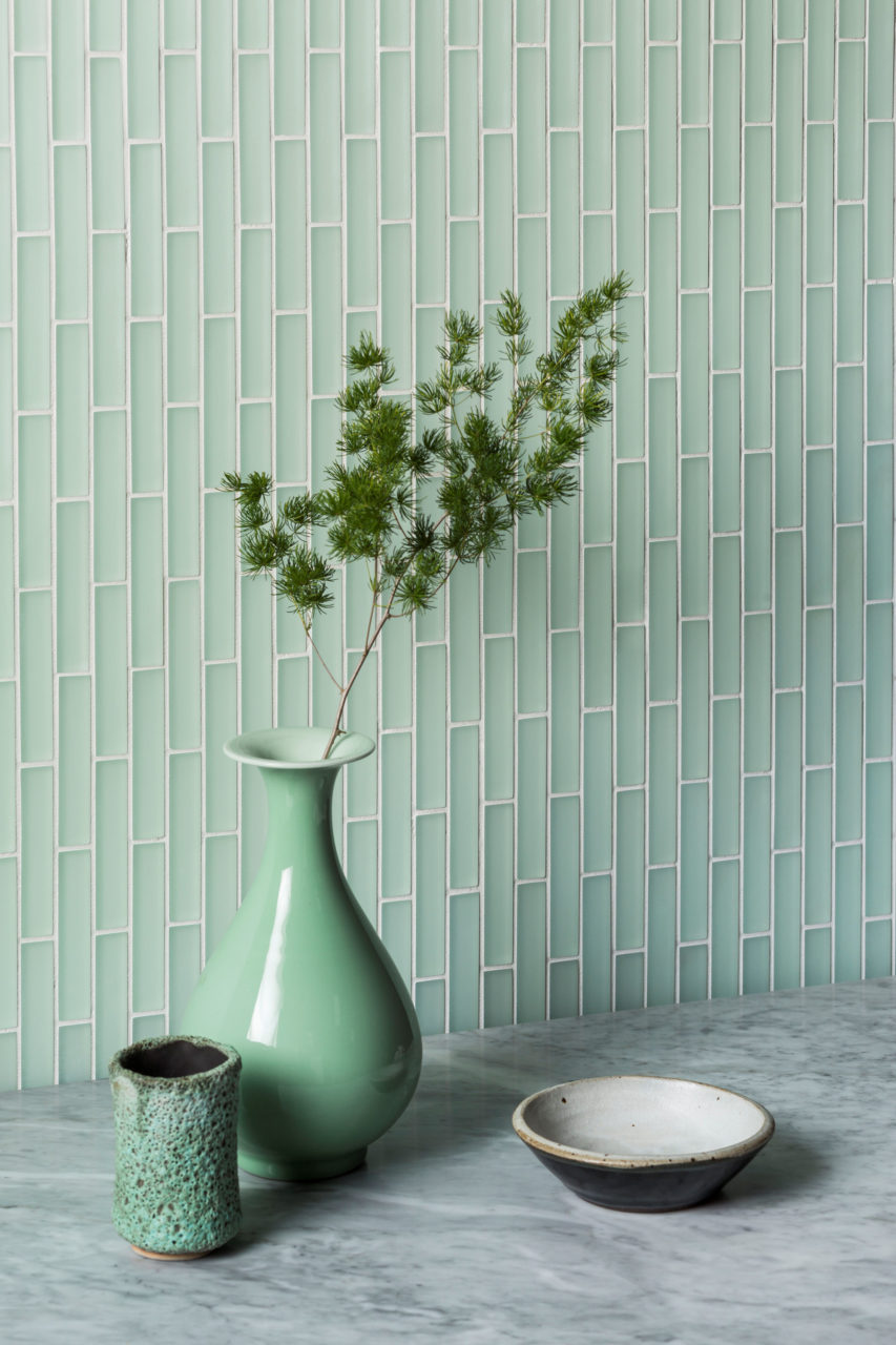 Glacier Light Green Glass Brick Mosaic Tiles Mandarin Stone