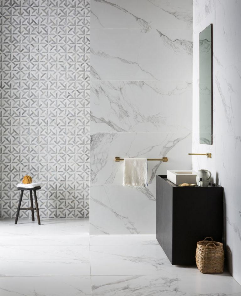 Mimica Bianco Ravenna Matt Porcelain Tiles Mandarin Stone