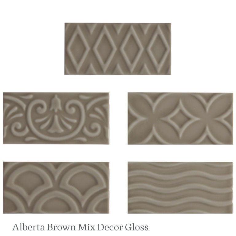 Alberta Brown Mix Gloss Decorative Tile