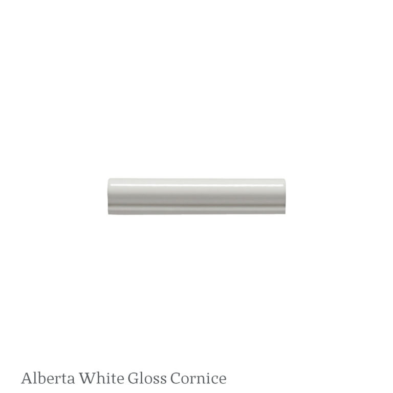 Alberta White Gloss Cornice Tile Swatch