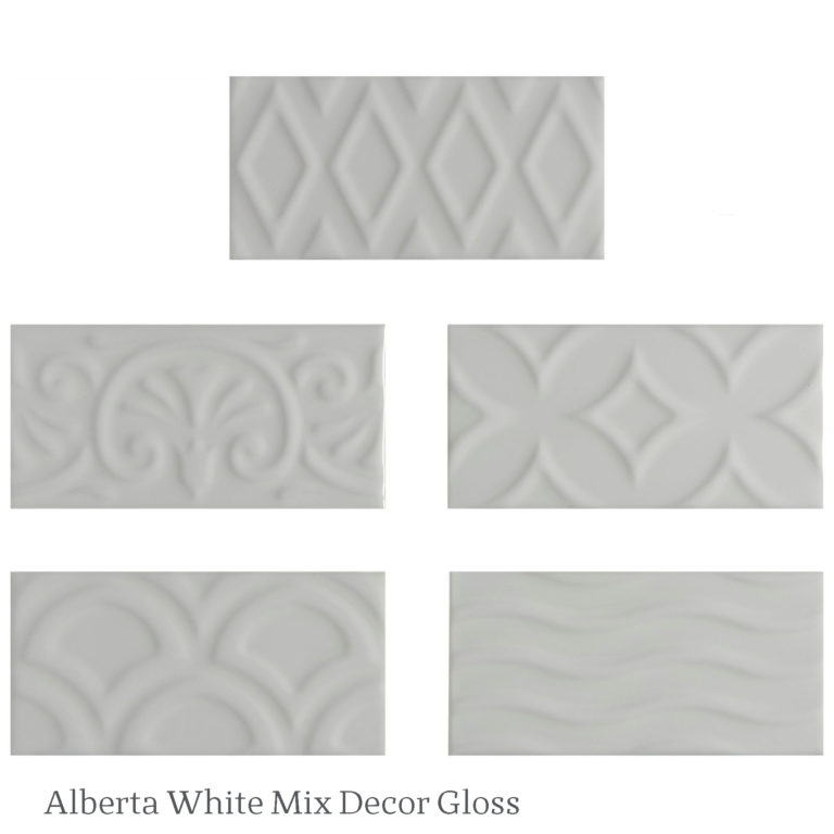 Alberta White Mix Decor Gloss Tiles