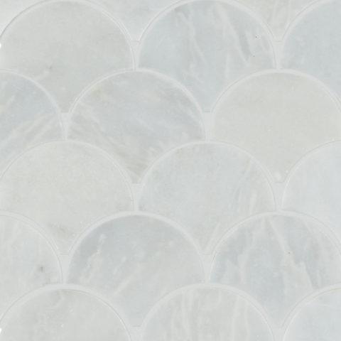 Calacatta Honed Marble Scallop Mosaic