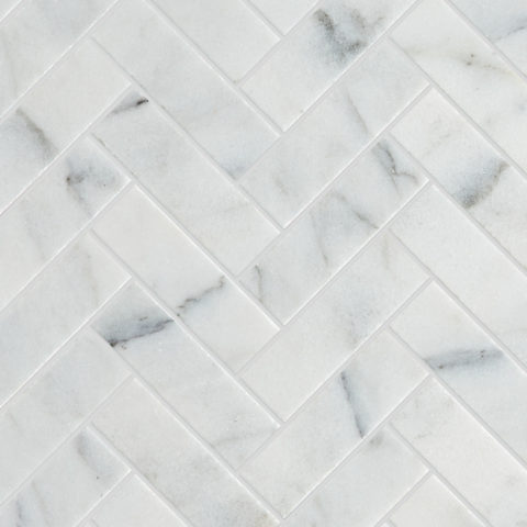 Calacatta Vein Honed Marble Herringbone Mosaic