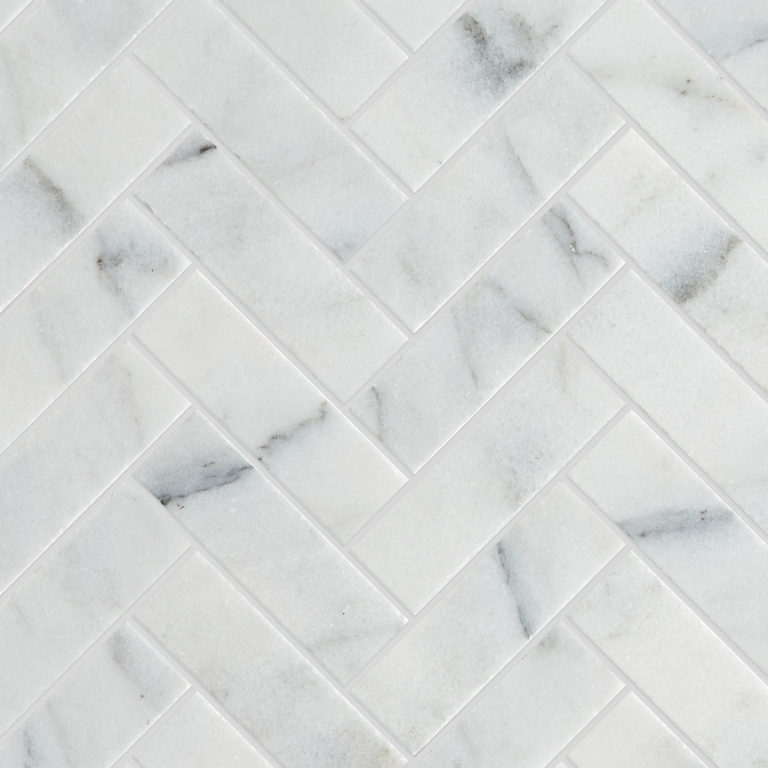 Calacatta Vein Honed Herringbone Mosaic Tile -Swatch