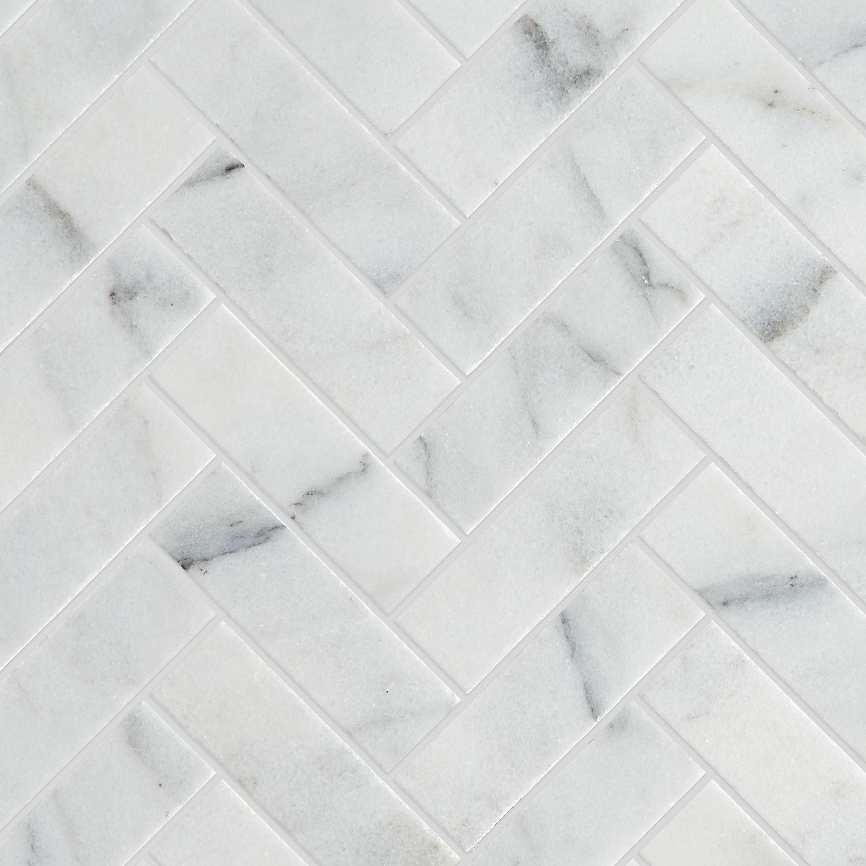 Calacatta Vein Honed Marble Herringbone Mosaic Tiles