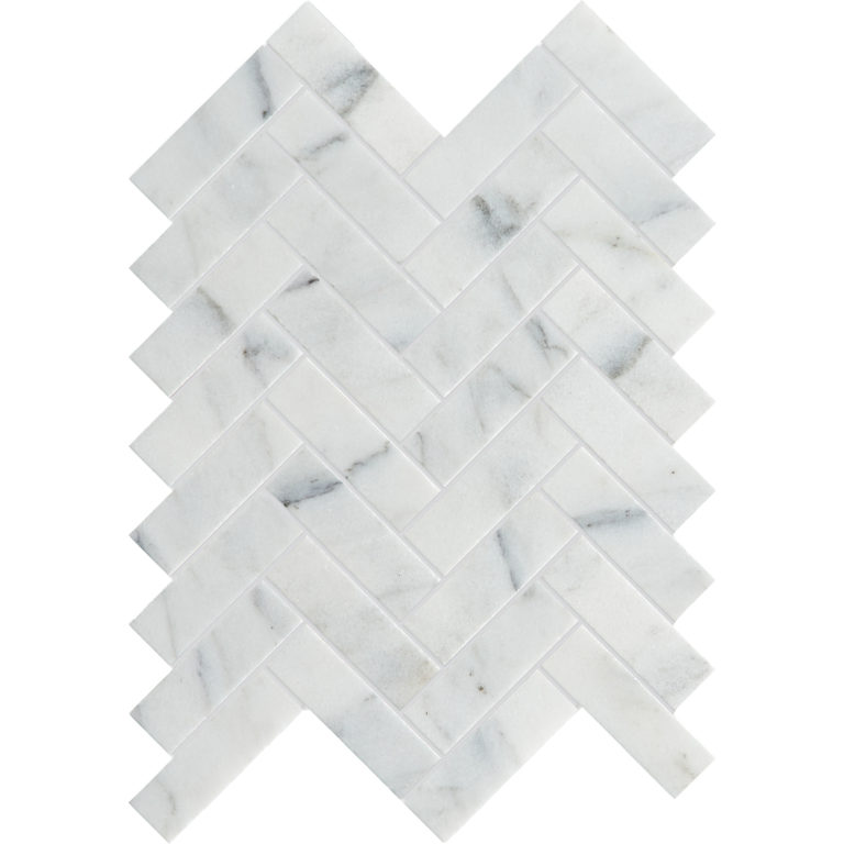 Calacatta Vein Honed Herringbone Mosaic Tile (Two Row)