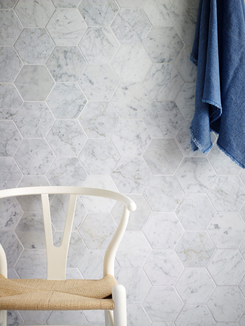 Carrara Tumbled Marble Hexagon Tile