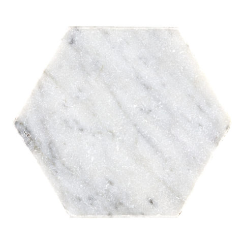 Carrara Tumbled Marble Hexagon
