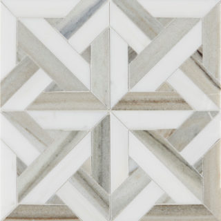 Pyrenees Small Lattice Marble Tile -Swatch