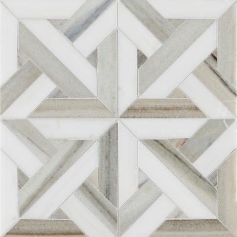 Pyrenees Honed Polished Small Lattice Marble Mosaic