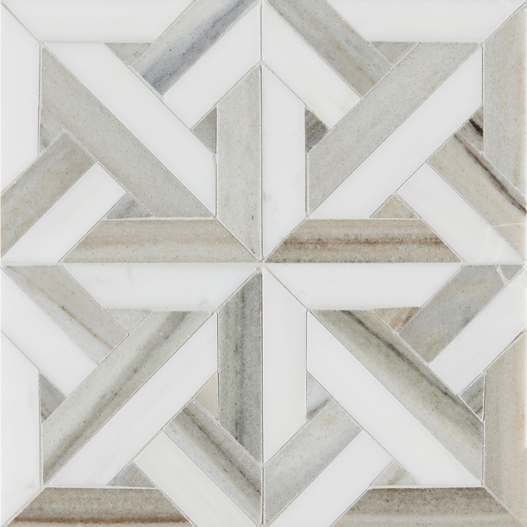 Pyrenees Honed Polished Small Lattice Marble Mosaic Tiles