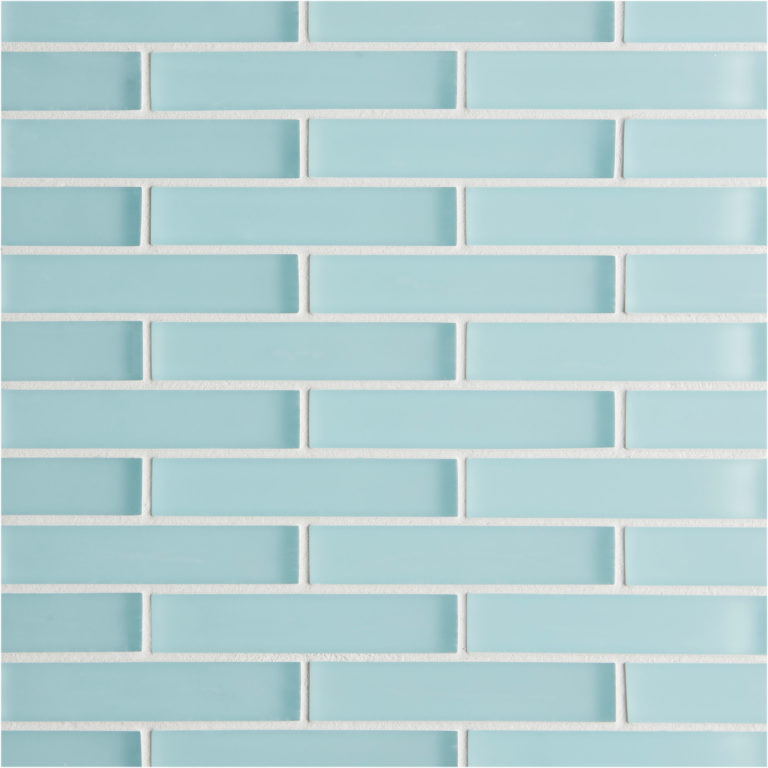 Glacier Blue Glass Brick Mosaic Tile