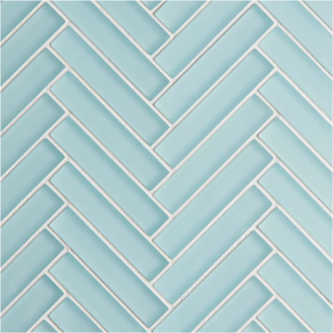 Glacier Blue Glass Herringbone Mosaic