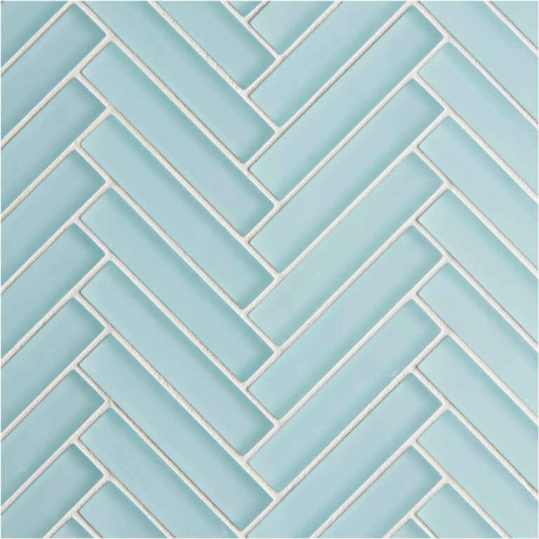 Glacier Blue Glass Herringbone Mosaic Tile
