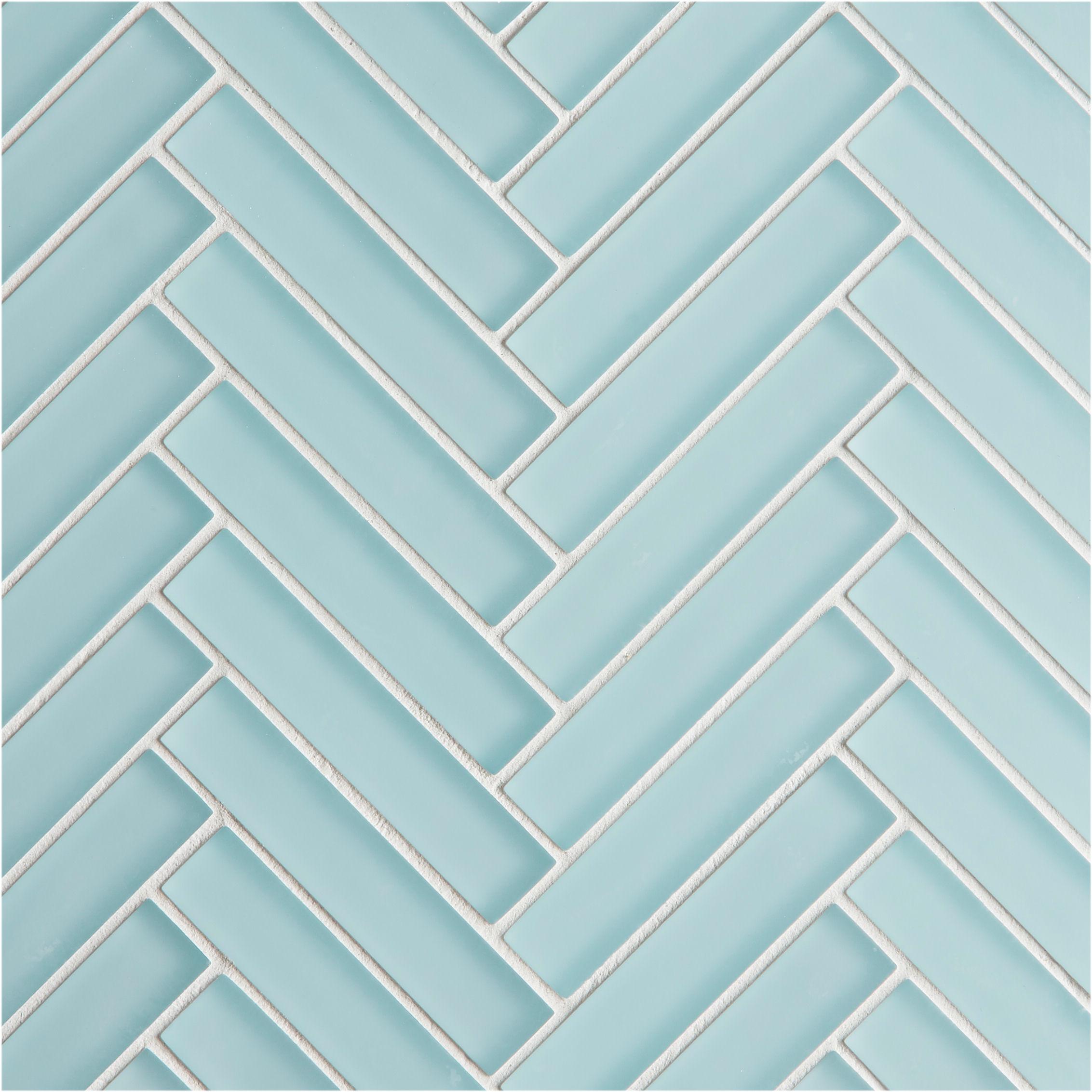 Glacier Blue Glass Herringbone Mosaic Tile