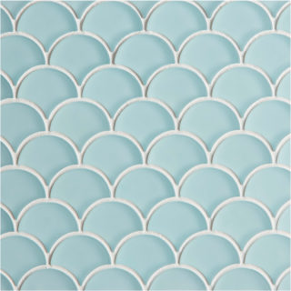 Glacier Blue Glass Scallop Mosaic Tile