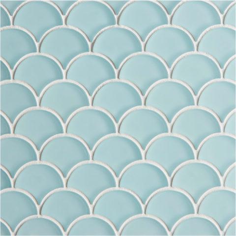Glacier Blue Glass Scallop Mosaic