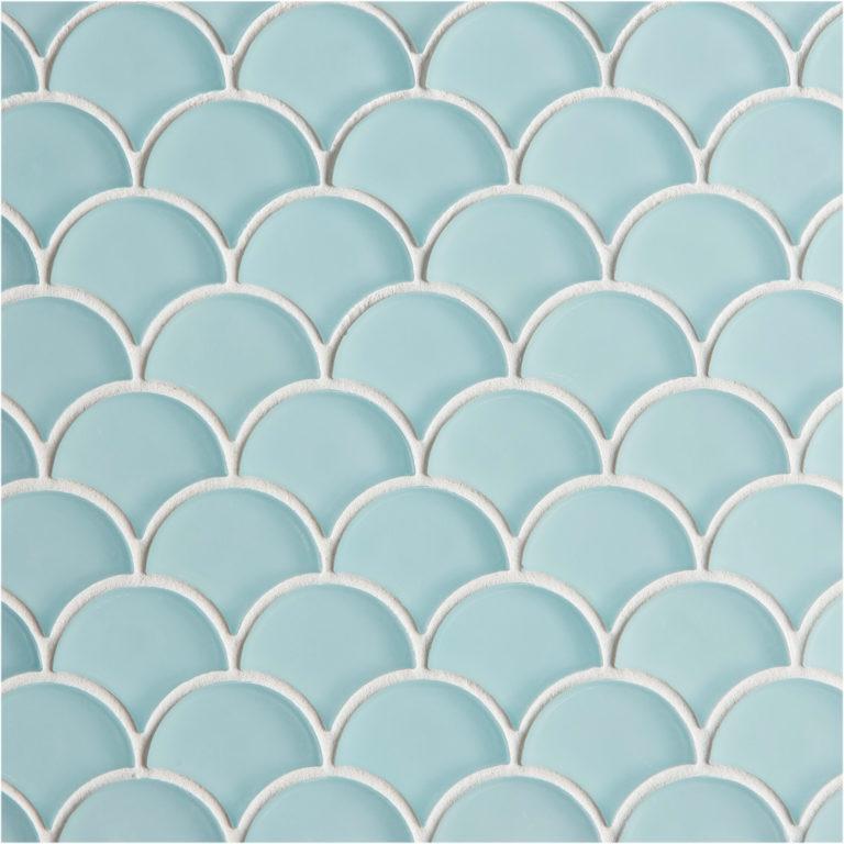 Glacier Blue Gl Scallop Mosaic Tile