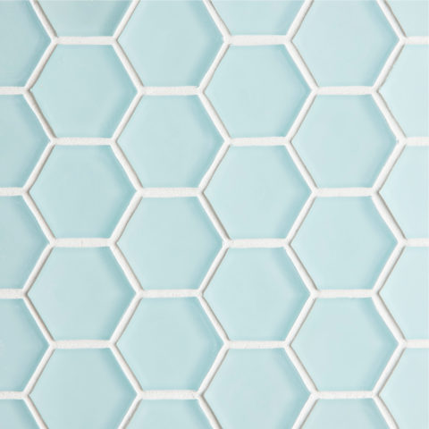 Glacier Blue Glass Hexagon Mosaic