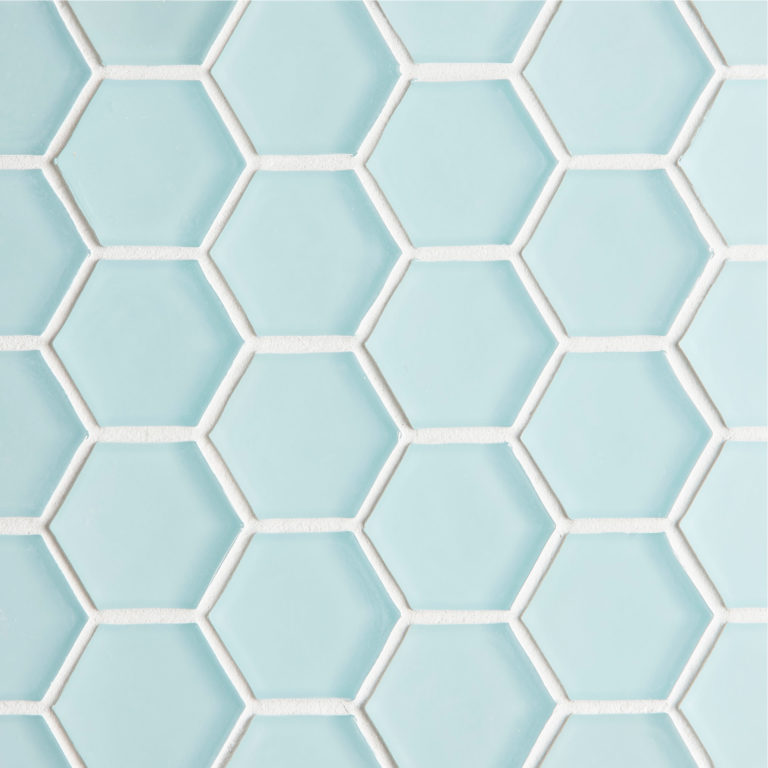 Glacier Blue Glass Hexagon Mosaic Tile