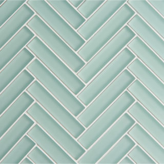Glacier Green Glass Herringbone Mosaic Tile