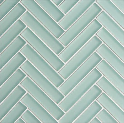 Glacier Green Glass Herringbone Mosaic