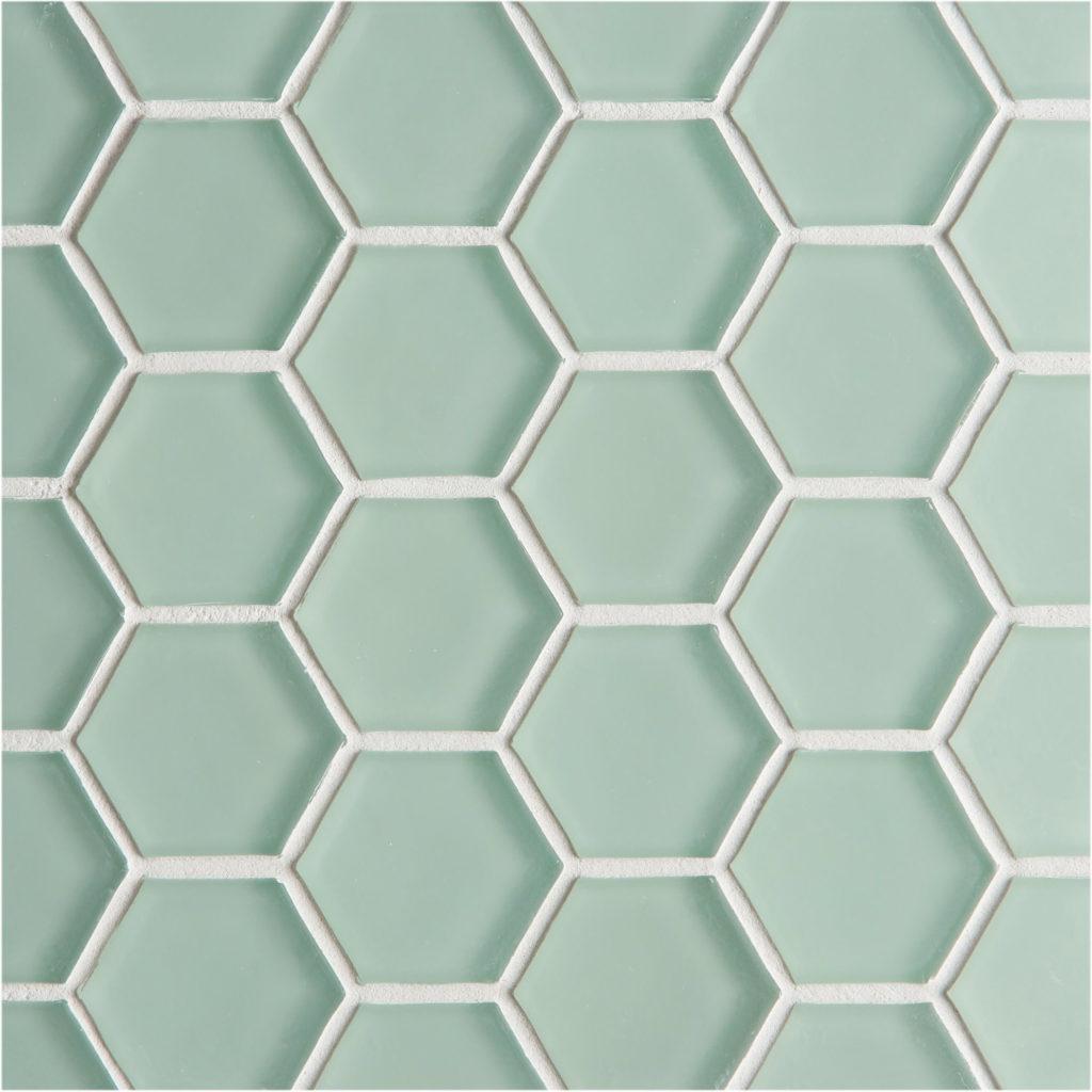 Glacier Green Glass Hexagon Mosaic Tiles Mandarin Stone