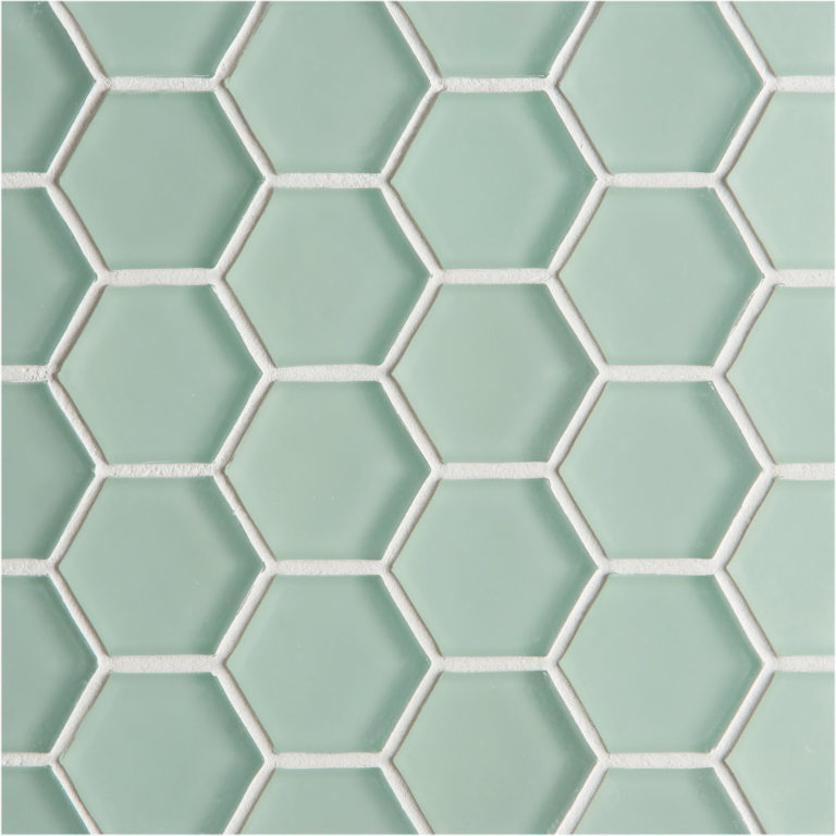 Glacier Green Glass Hexagon Mosaic Tile