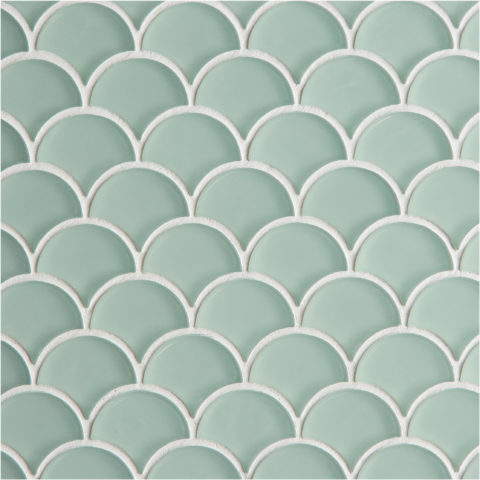 Glacier Green Glass Scallop Mosaic