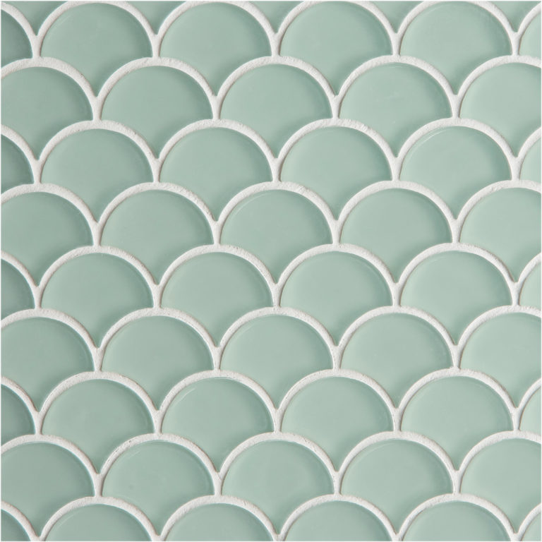Glacier Green Glass Scallop Mosaic Tile