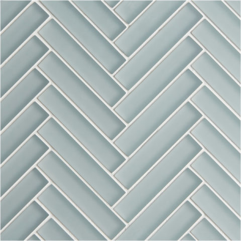 Glacier Grey Glass Herringbone Mosaic