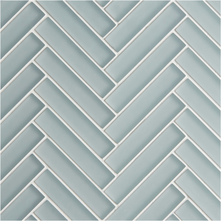 Glacier Grey Herringbone Mosaic Glass Tiles