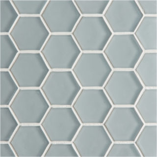 Glacier Grey Glass Hexagon Mosaic Tile