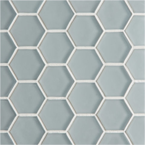 Glacier Grey Glass Hexagon Mosaic