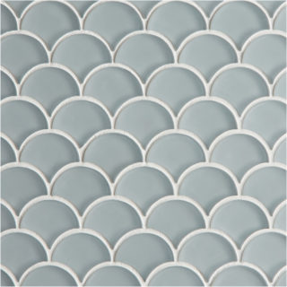 Glacier Grey Scallop Mosaic Glass Tile