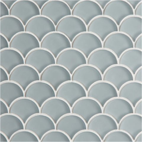 Glacier Grey Glass Scallop Mosaic