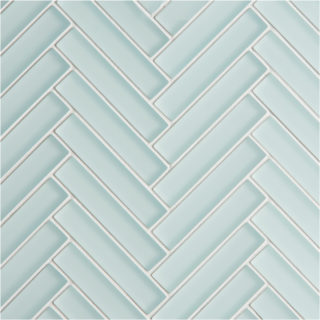Glacier Light Green Glass Herringbone Mosaic Tile