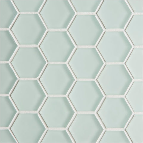 Glacier Light Green Glass Hexagon Mosaic